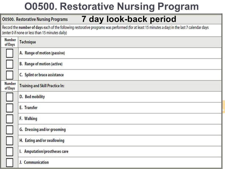 O0500. Restorative Nursing Program (O-32-37 ) 7 day look-back period