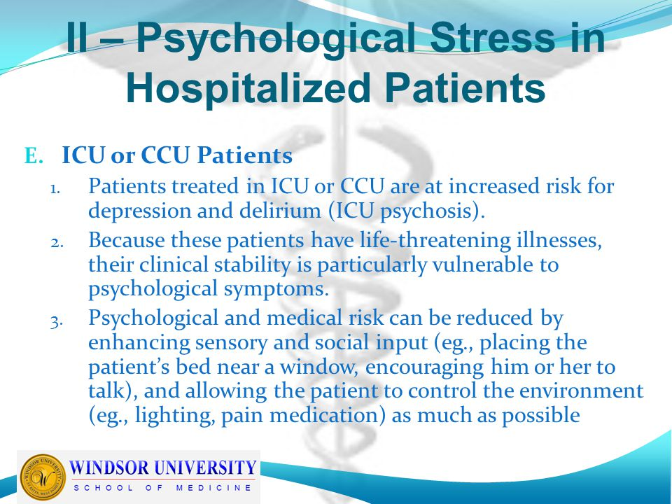 II – Psychological Stress in Hospitalized Patients E.