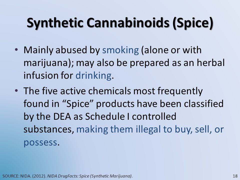 Synthetic Cannabinoids (Spice) Mainly abused by smoking (alone or with marijuana); may also be prepared as an herbal infusion for drinking. The five a