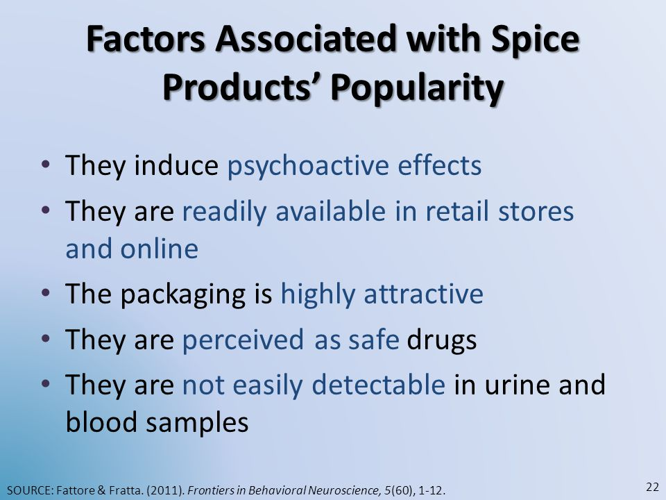 Factors Associated with Spice Products' Popularity They induce psychoactive effects They are readily available in retail stores and online The packagi