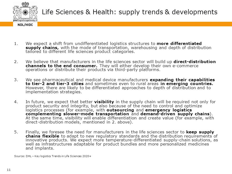 11 Life Sciences & Health: supply trends & developments 1.We expect a shift from undifferentiated logistics structures to more differentiated supply c