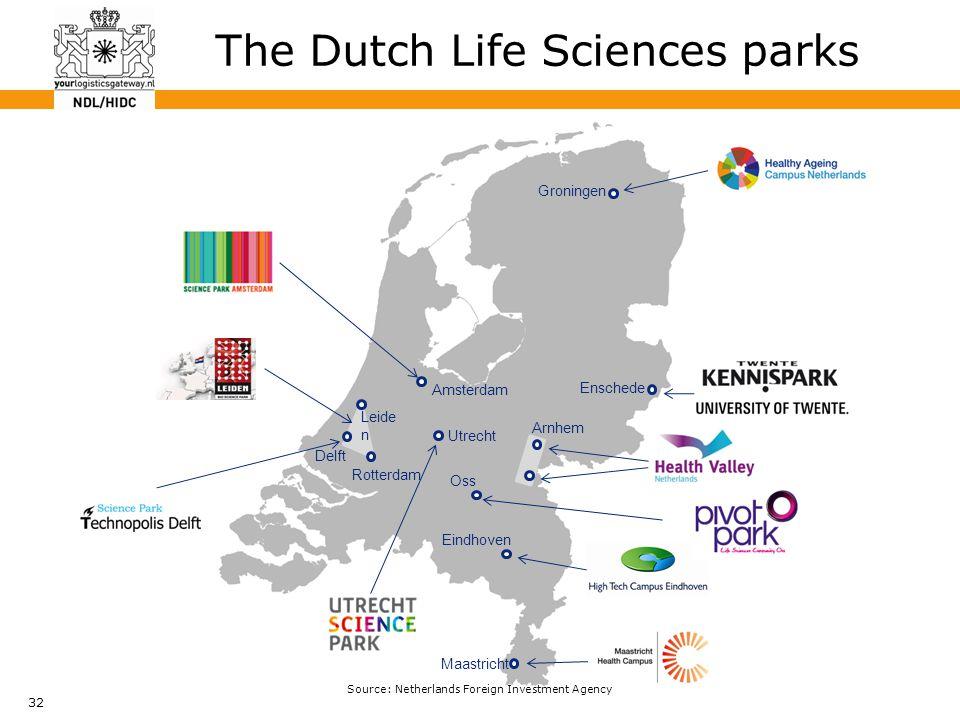 32 The Dutch Life Sciences parks Amsterdam Rotterdam Utrecht Delft Leide n Arnhem Enschede Groningen Eindhoven Maastricht Oss Source: Netherlands Foreign Investment Agency