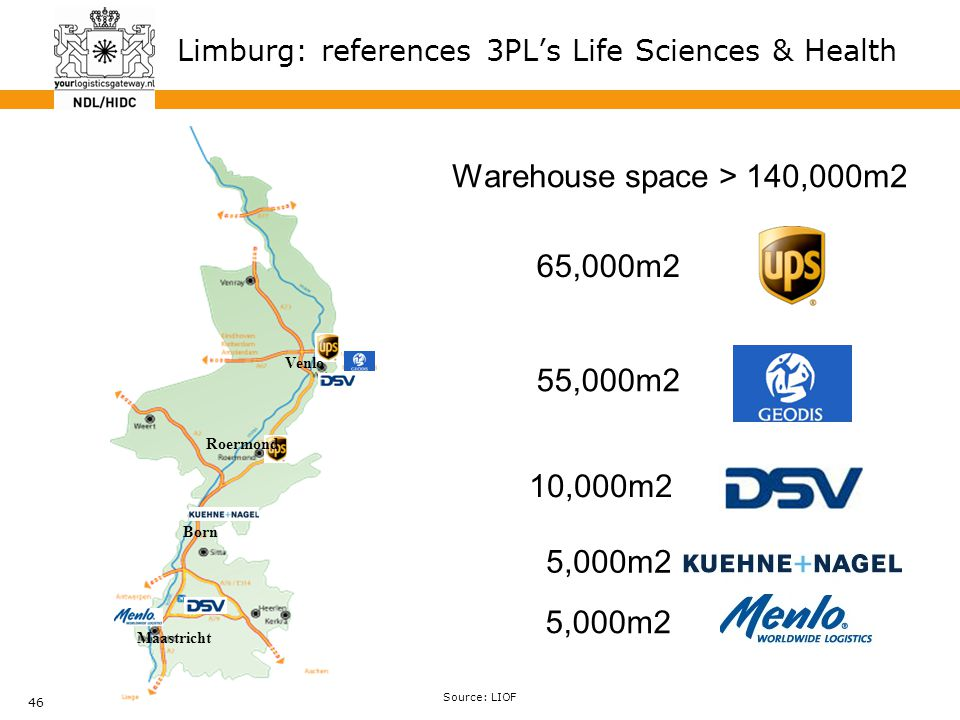 46 Warehouse space > 140,000m2 65,000m2 55,000m2 10,000m2 5,000m2 Venlo Roermond Born Maastricht Limburg: references 3PL's Life Sciences & Health Sour