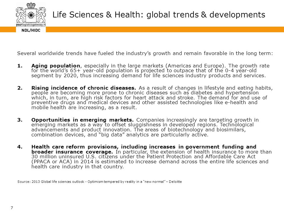 7 Life Sciences & Health: global trends & developments Several worldwide trends have fueled the industry's growth and remain favorable in the long ter