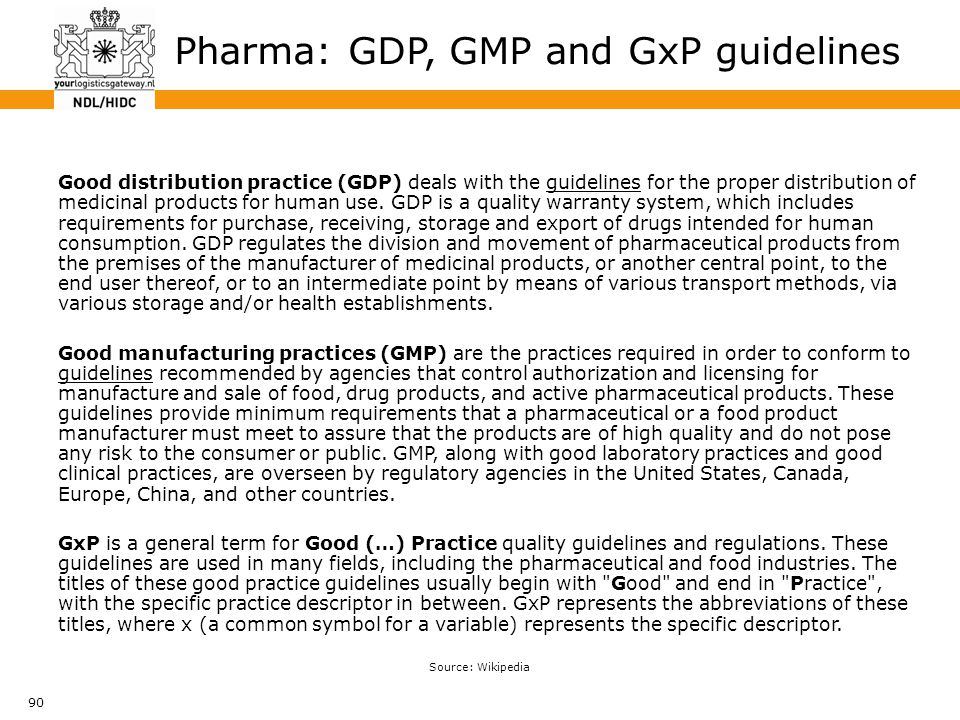 90 Pharma: GDP, GMP and GxP guidelines Good distribution practice (GDP) deals with the guidelines for the proper distribution of medicinal products fo