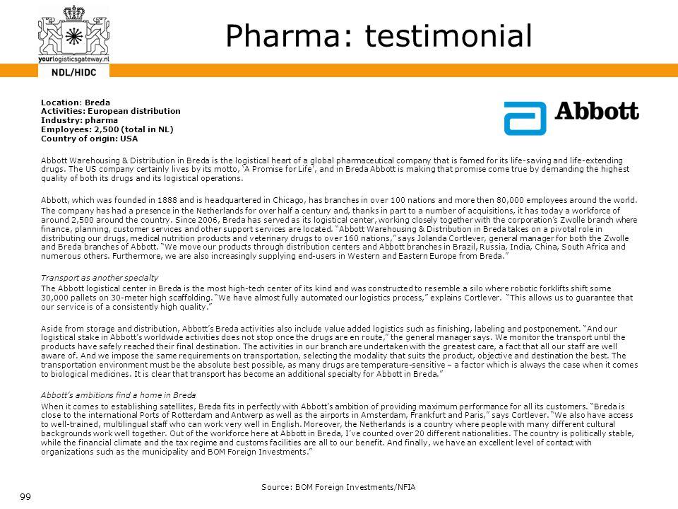 99 Pharma: testimonial Location: Breda Activities: European distribution Industry: pharma Employees: 2,500 (total in NL) Country of origin: USA Abbott