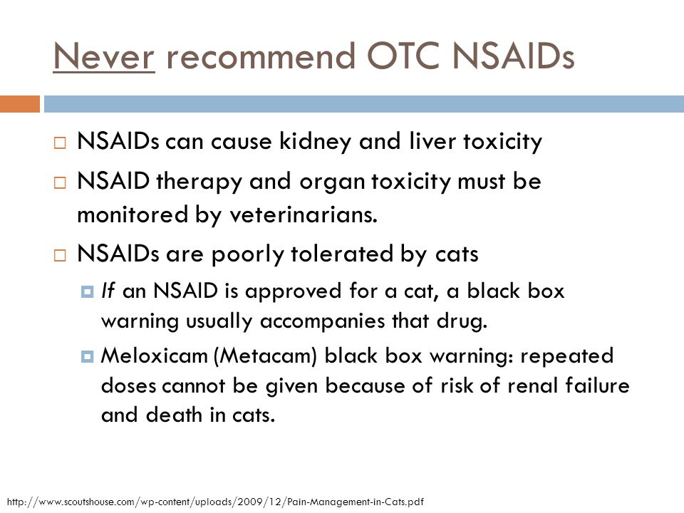 Never recommend OTC NSAIDs  NSAIDs can cause kidney and liver toxicity  NSAID therapy and organ toxicity must be monitored by veterinarians.  NSAID