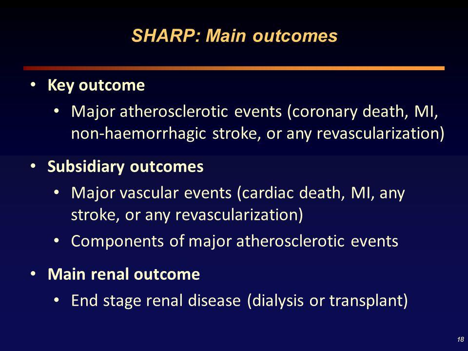 18 SHARP: Main outcomes Key outcome Major atherosclerotic events (coronary death, MI, non-haemorrhagic stroke, or any revascularization) Subsidiary ou