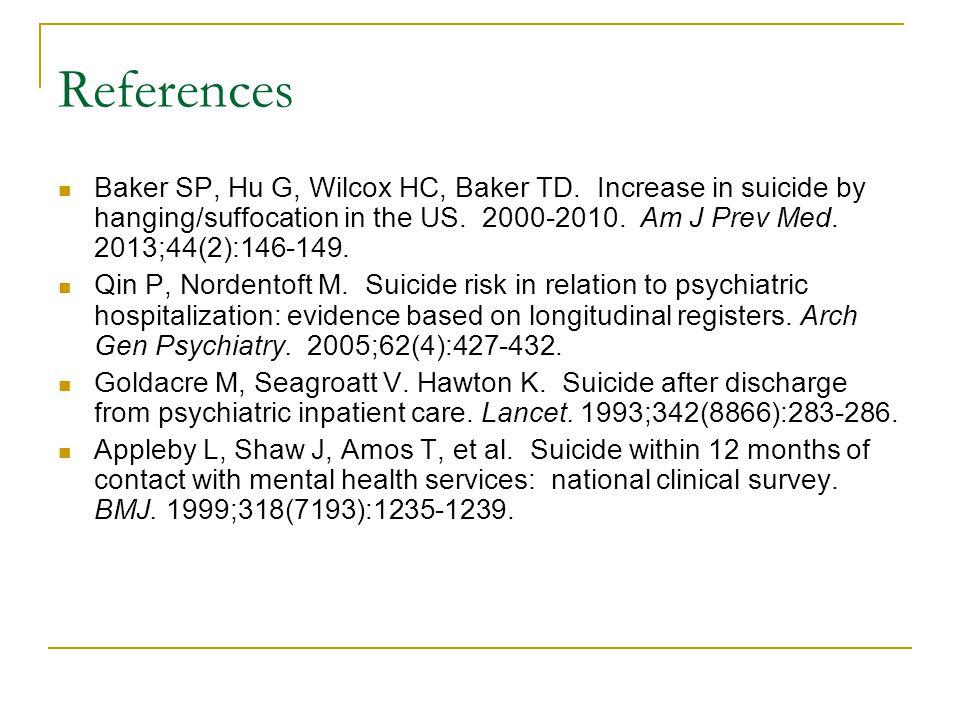 References Baker SP, Hu G, Wilcox HC, Baker TD.