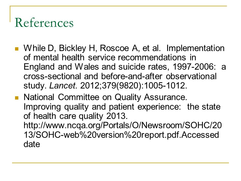 References While D, Bickley H, Roscoe A, et al.
