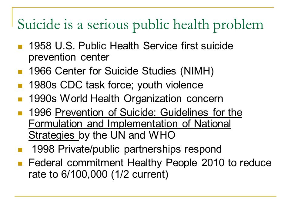 Suicide is a serious public health problem 1958 U.S.
