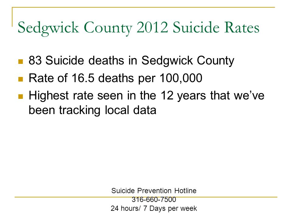 Sedgwick County 2012 Suicide Rates 83 Suicide deaths in Sedgwick County Rate of 16.5 deaths per 100,000 Highest rate seen in the 12 years that we've been tracking local data Suicide Prevention Hotline 316-660-7500 24 hours/ 7 Days per week