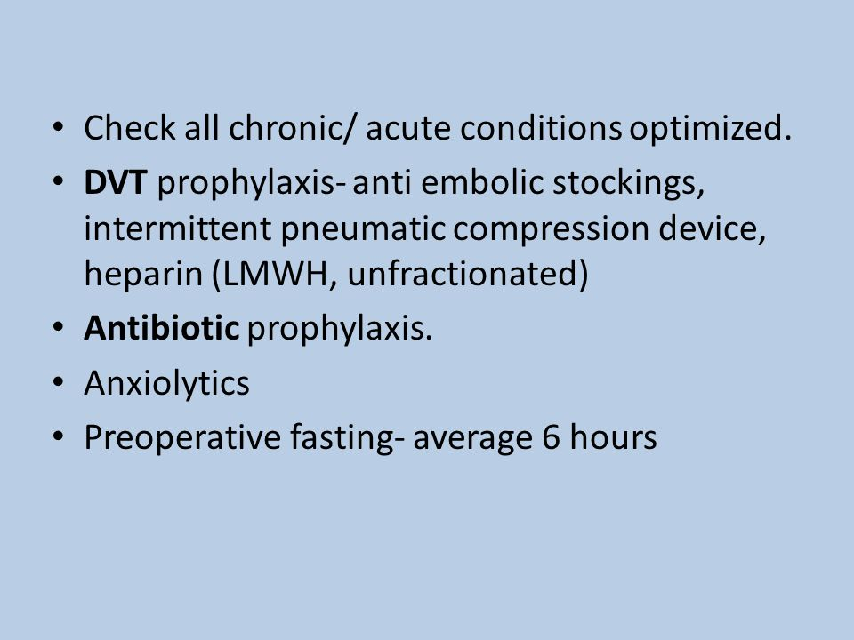Check all chronic/ acute conditions optimized.
