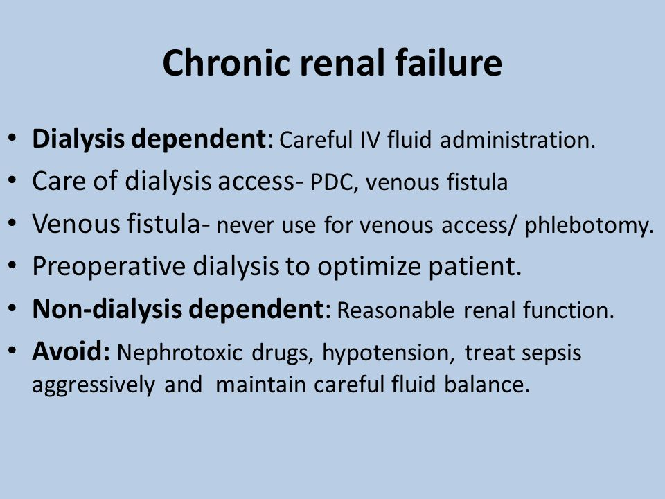 Chronic renal failure Dialysis dependent: Careful IV fluid administration.
