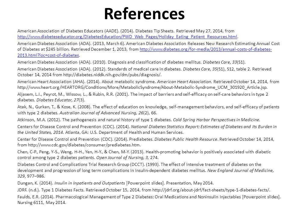 References American Association of Diabetes Educators (AADE).