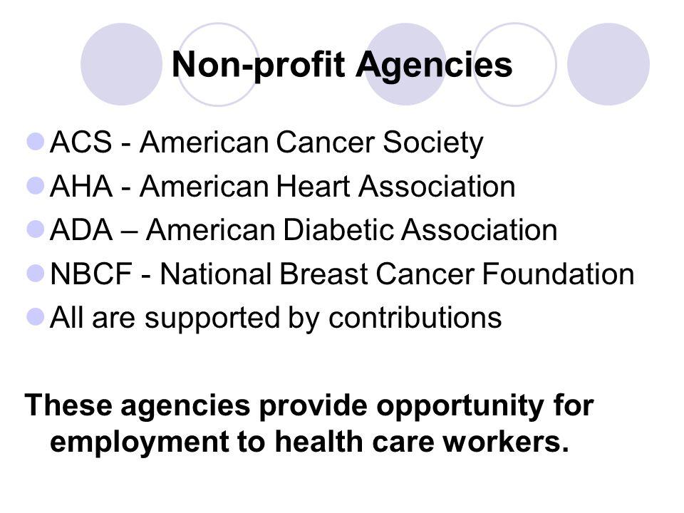 Non-profit Agencies ACS - American Cancer Society AHA - American Heart Association ADA – American Diabetic Association NBCF - National Breast Cancer F