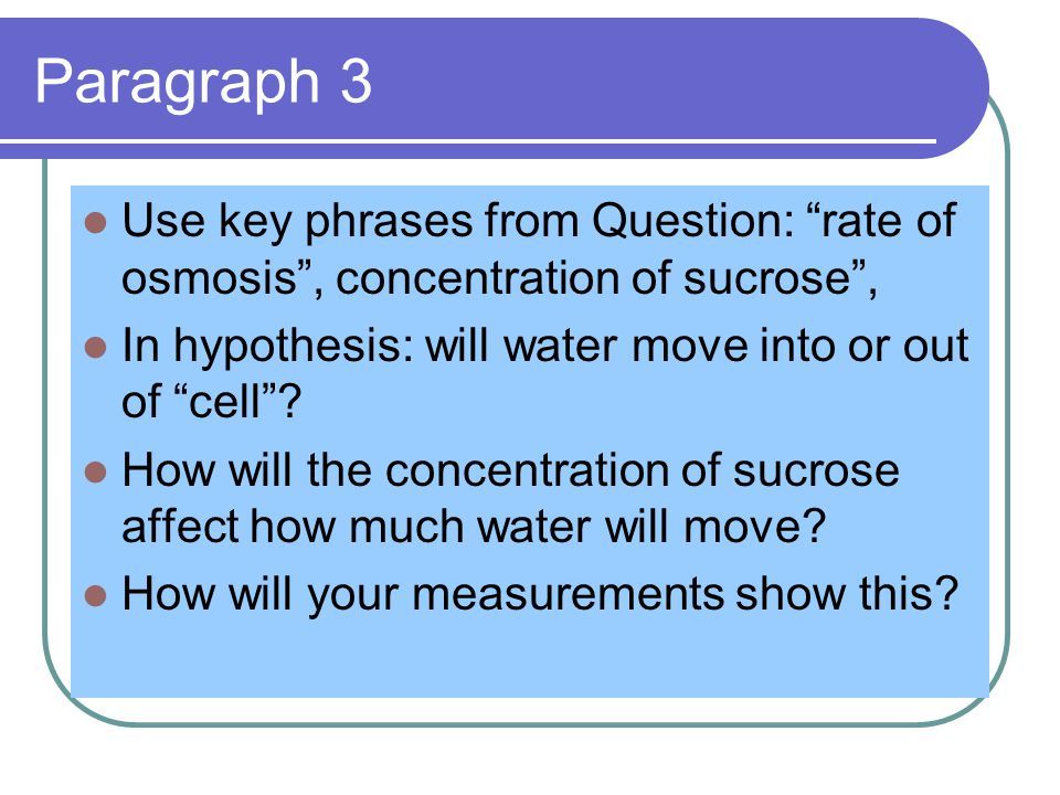 Paragraph 3 Use key phrases from Question: rate of osmosis , concentration of sucrose , In hypothesis: will water move into or out of cell .