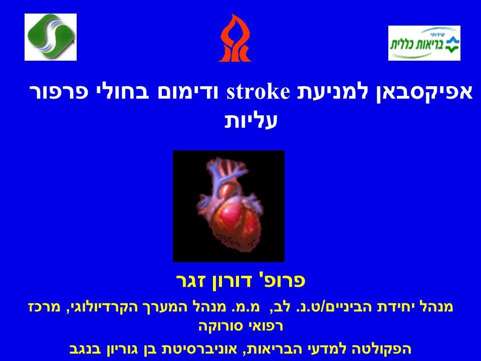 אפיקסבאן למניעת stroke ודימום בחולי פרפור עליות פרופ דורון זגר מנהל יחידת הביניים / ט.