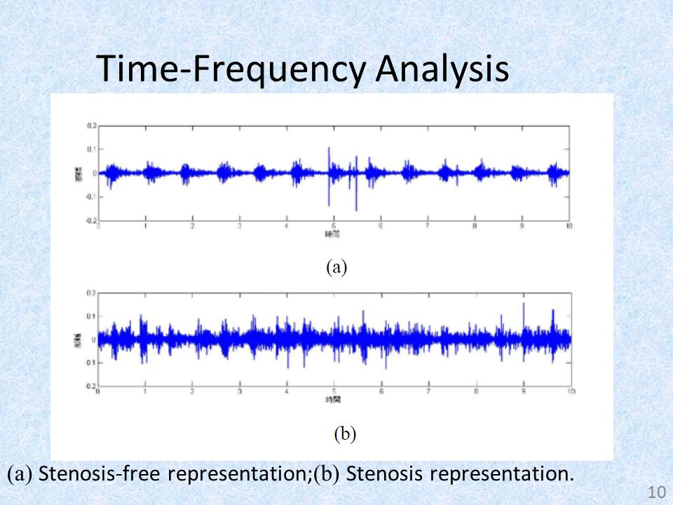 Time-Frequency Analysis (a) Stenosis-free representation; (b) Stenosis representation. 10