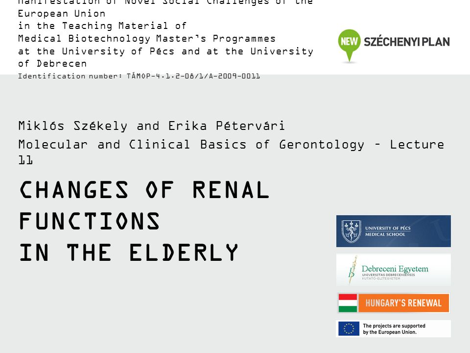 TÁMOP-4.1.2-08/1/A-2009-0011 With aging: Renal mass decreases Renal blood flow (RBF) decreases Number of functioning nephrons decreases GFR decreases, glomerular dysfunctions Tubular dysfunctions Excretory capacity decreases Role in salt/water regulation decreases Role in pH regulation decreases Non-excretory renal functions decrease AGING vs.