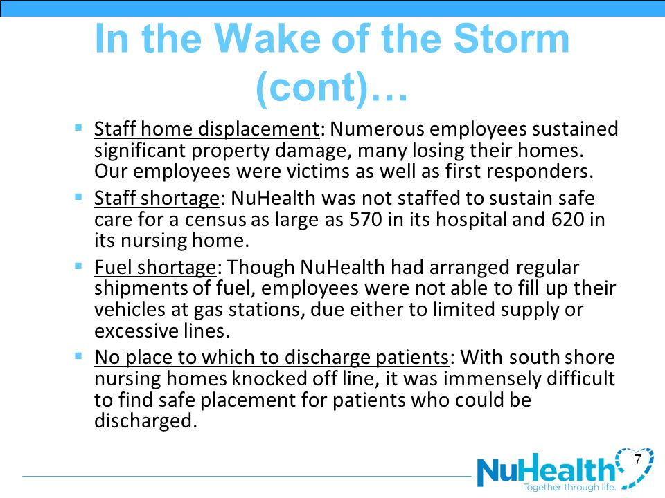 In the Wake of the Storm (cont)…  Staff home displacement: Numerous employees sustained significant property damage, many losing their homes.