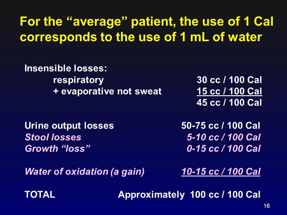 Insensible losses: respiratory30 cc / 100 Cal + evaporative not sweat 15 cc / 100 Cal 45 cc / 100 Cal Urine output losses 50-75 cc / 100 Cal Stool los