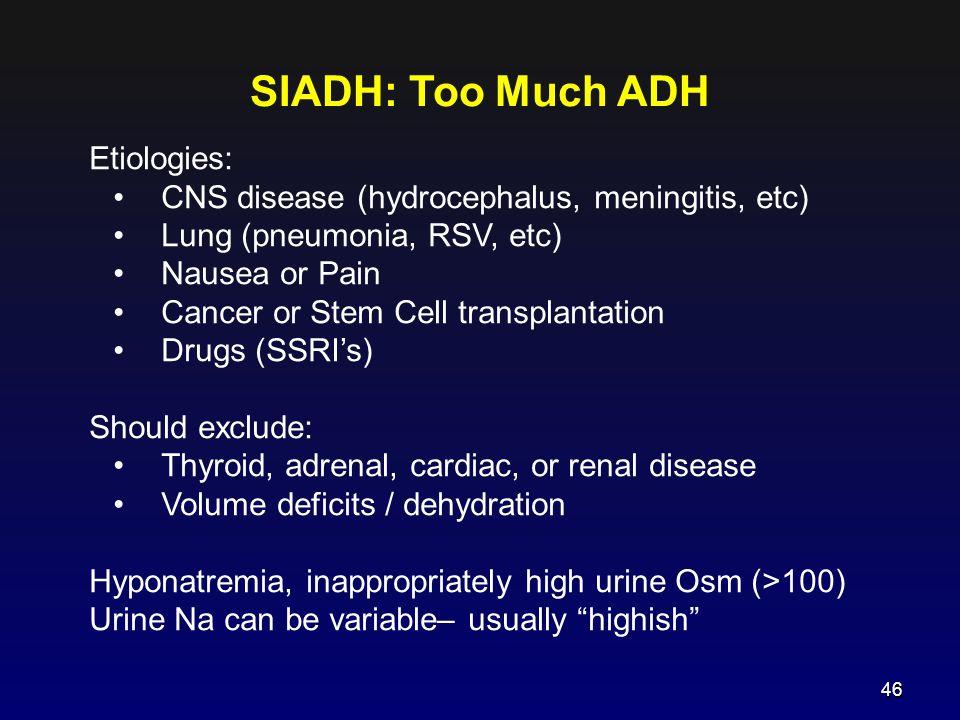 SIADH: Too Much ADH Etiologies: CNS disease (hydrocephalus, meningitis, etc) Lung (pneumonia, RSV, etc) Nausea or Pain Cancer or Stem Cell transplanta