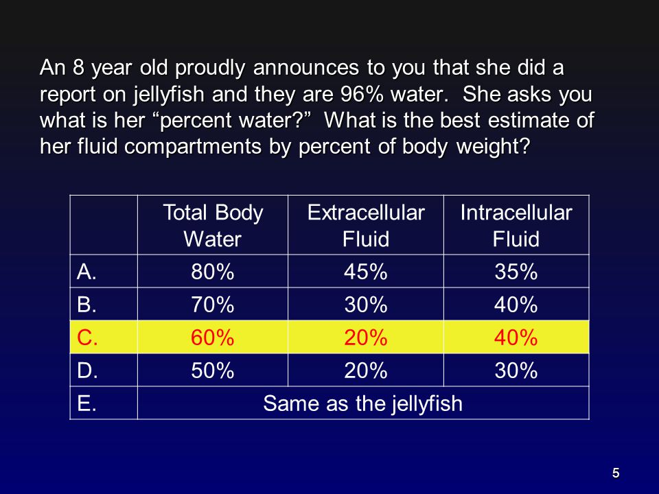 Composition of Body Fluids Babies are moist– but not quite jellyfish! 6