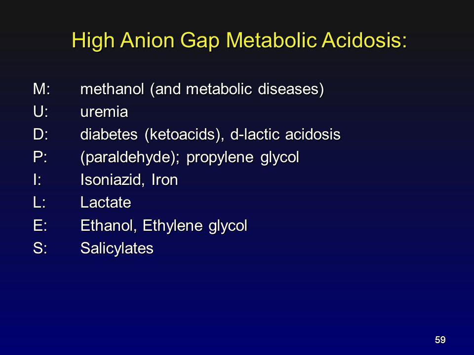 High Anion Gap Metabolic Acidosis: M: methanol (and metabolic diseases) U: uremia D:diabetes (ketoacids), d-lactic acidosis P:(paraldehyde); propylene