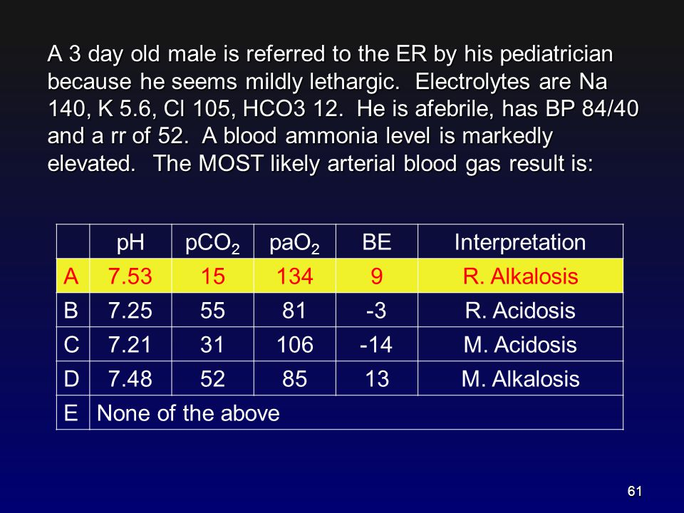 A 3 day old male is referred to the ER by his pediatrician because he seems mildly lethargic. Electrolytes are Na 140, K 5.6, Cl 105, HCO3 12. He is a