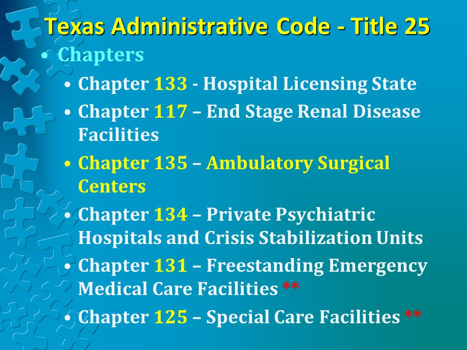 Texas Administrative Code - Title 25 Chapters Chapter 133 - Hospital Licensing State Chapter 117 – End Stage Renal Disease Facilities Chapter 135 – Ambulatory Surgical Centers Chapter 134 – Private Psychiatric Hospitals and Crisis Stabilization Units Chapter 131 – Freestanding Emergency Medical Care Facilities ** Chapter 125 – Special Care Facilities **