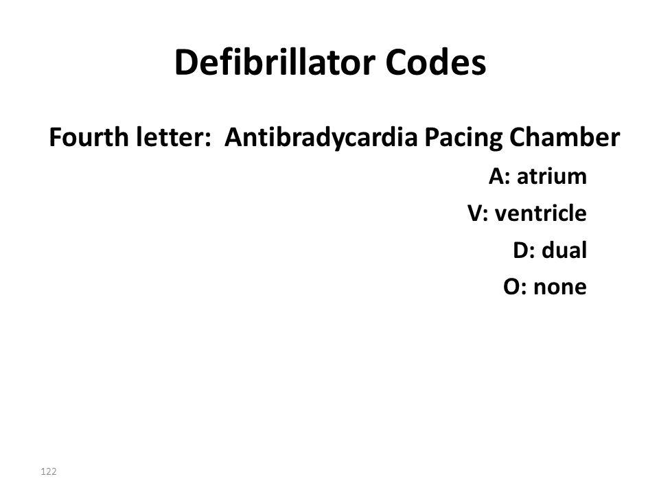 122 Defibrillator Codes Fourth letter: Antibradycardia Pacing Chamber A: atrium V: ventricle D: dual O: none