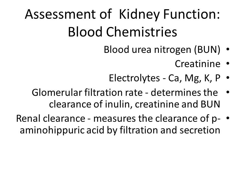 Assessment of Kidney Function: Blood Chemistries Blood urea nitrogen (BUN) Creatinine Electrolytes - Ca, Mg, K, P Glomerular filtration rate - determi