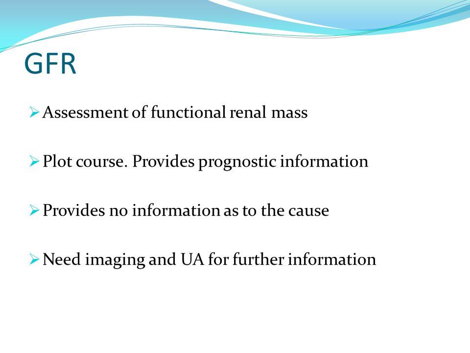 GFR  Assessment of functional renal mass  Plot course.