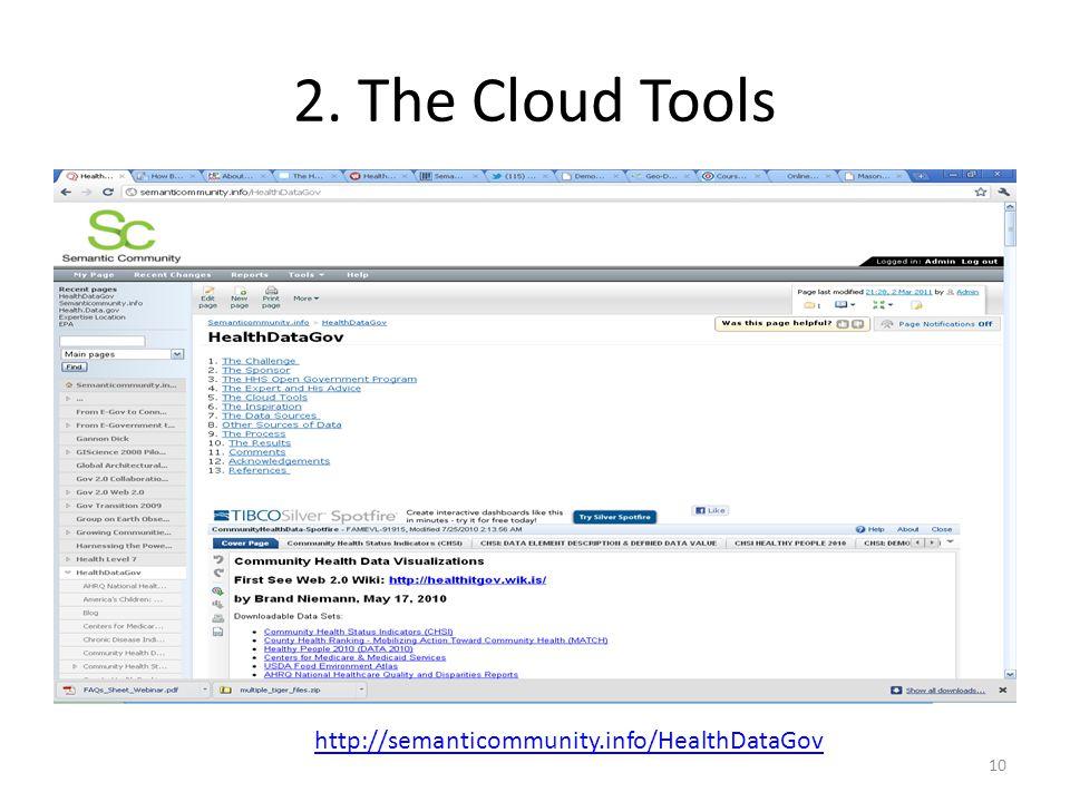 2. The Cloud Tools http://semanticommunity.info/HealthDataGov 10