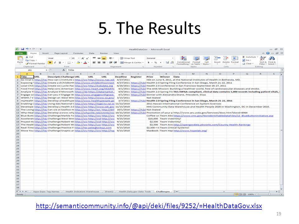 5. The Results 19 http://semanticommunity.info/@api/deki/files/9252/=HealthDataGov.xlsx