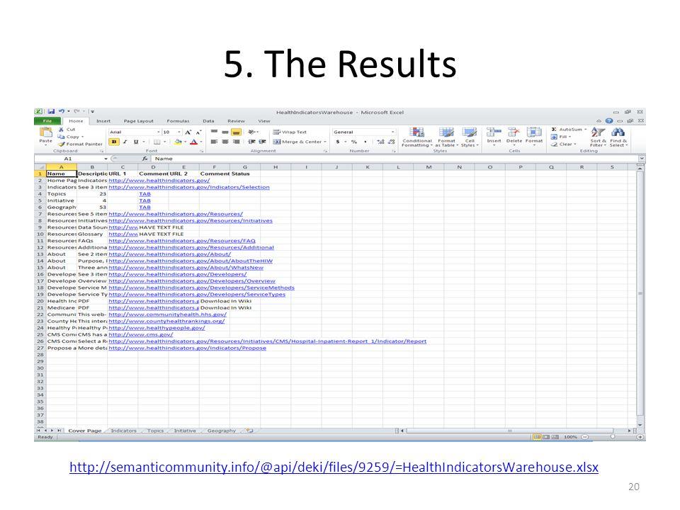 5. The Results 20 http://semanticommunity.info/@api/deki/files/9259/=HealthIndicatorsWarehouse.xlsx