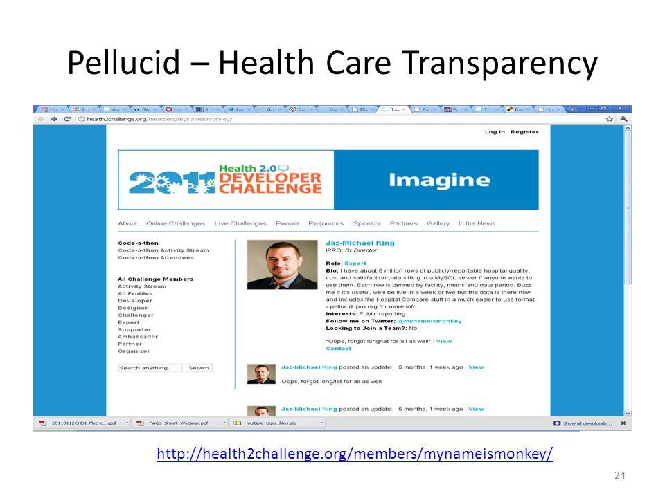 Pellucid – Health Care Transparency 24 http://health2challenge.org/members/mynameismonkey/