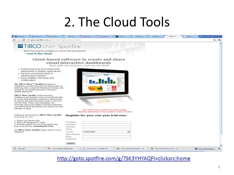 2. The Cloud Tools 8 http://goto.spotfire.com/g/ SK3YHYAQFI=clicksrc:home