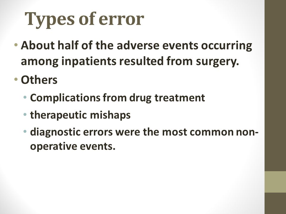 Types of error About half of the adverse events occurring among inpatients resulted from surgery.