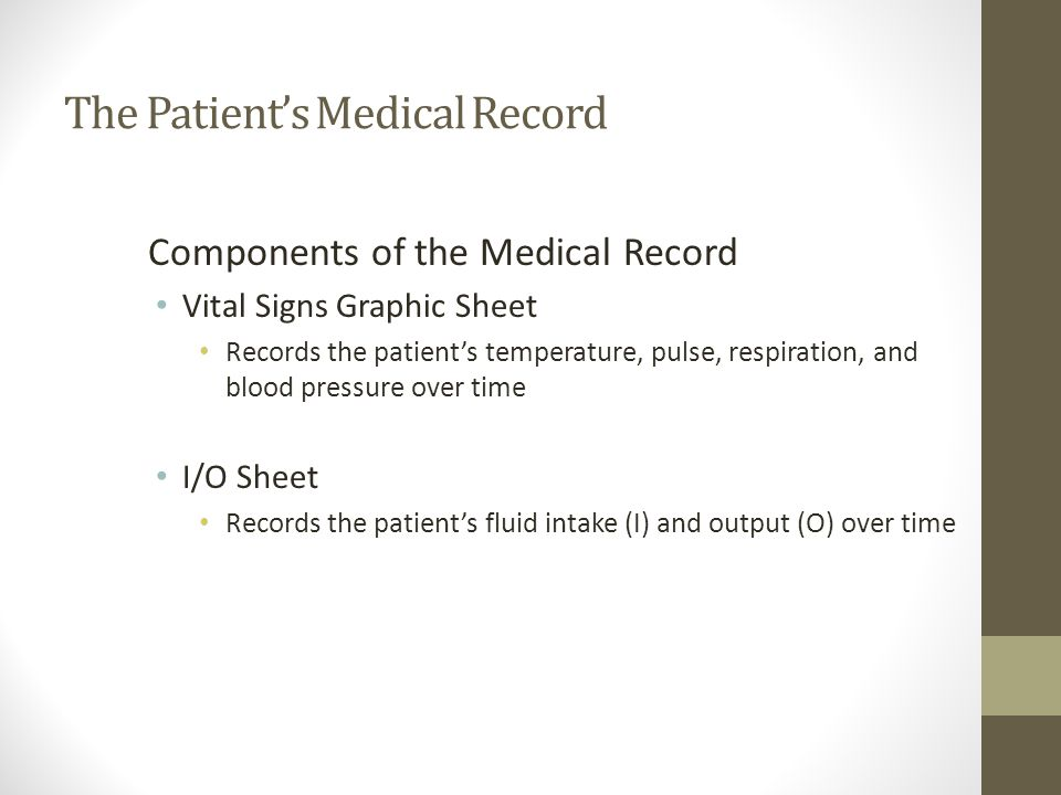 The Patient's Medical Record Components of the Medical Record Vital Signs Graphic Sheet Records the patient's temperature, pulse, respiration, and blood pressure over time I/O Sheet Records the patient's fluid intake (I) and output (O) over time