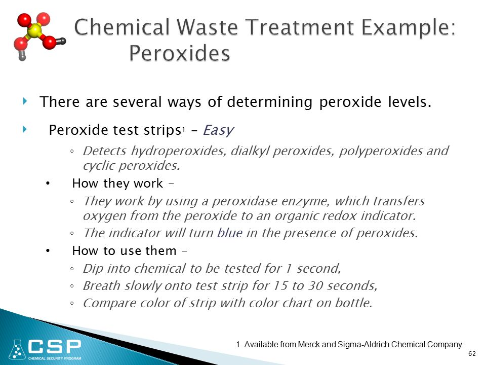 ‣ There are several ways of determining peroxide levels.