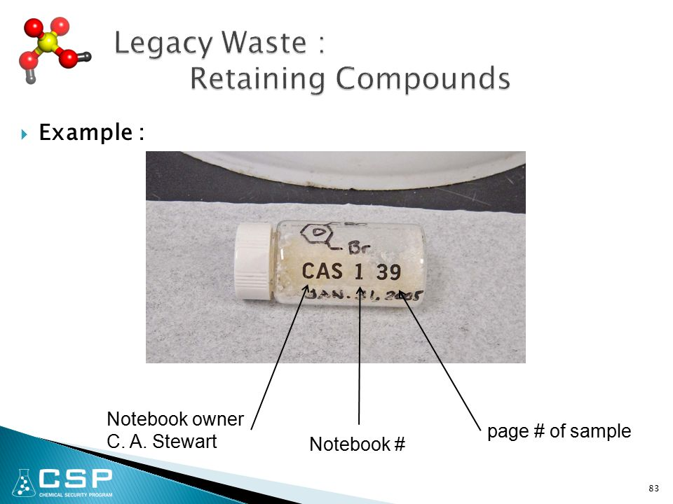  Example : 83 Notebook owner C. A. Stewart Notebook # page # of sample