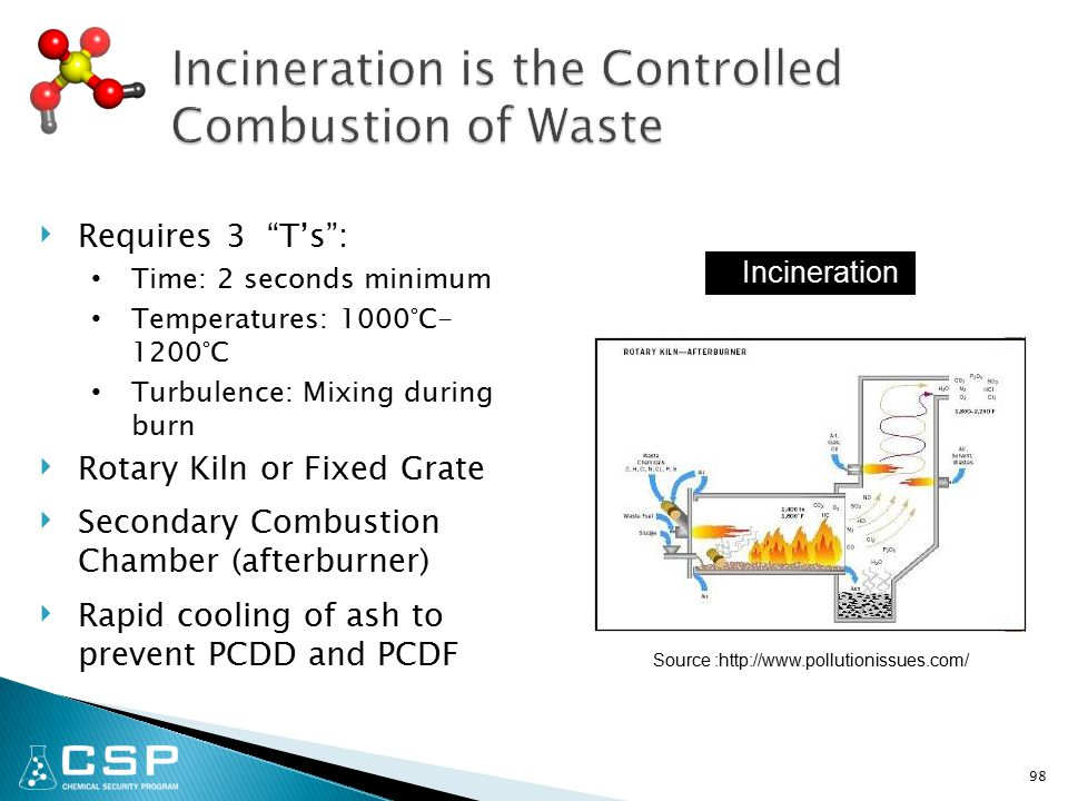 ‣ Requires 3 T's : Time: 2 seconds minimum Temperatures: 1000°C- 1200°C Turbulence: Mixing during burn ‣ Rotary Kiln or Fixed Grate ‣ Secondary Combustion Chamber (afterburner) ‣ Rapid cooling of ash to prevent PCDD and PCDF 98 Source :http://www.pollutionissues.com/ Incineration