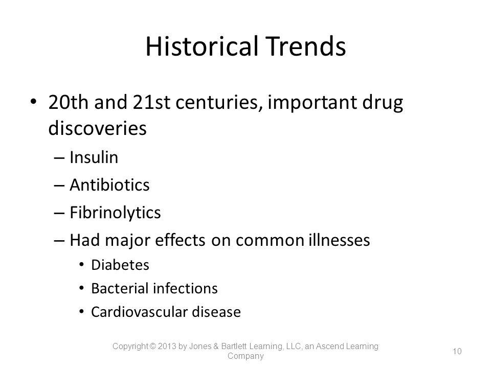 Historical Trends 20th and 21st centuries, important drug discoveries – Insulin – Antibiotics – Fibrinolytics – Had major effects on common illnesses