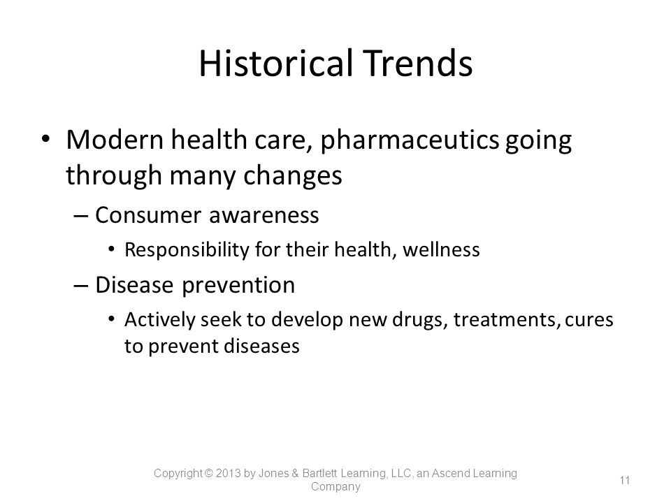 Historical Trends Modern health care, pharmaceutics going through many changes – Consumer awareness Responsibility for their health, wellness – Diseas