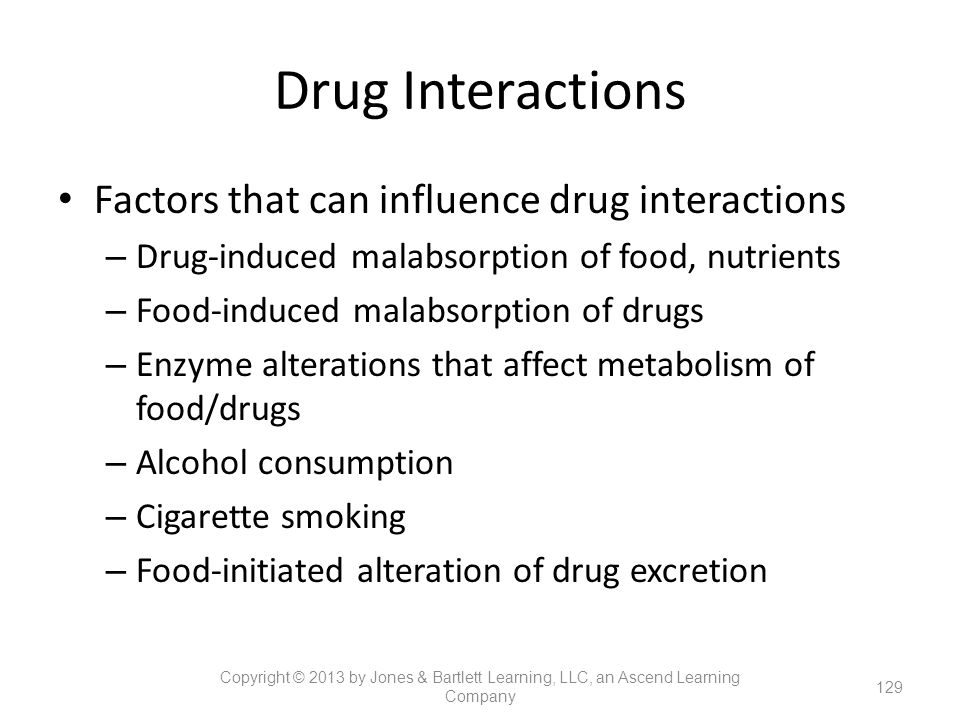 Drug Interactions Factors that can influence drug interactions – Drug-induced malabsorption of food, nutrients – Food-induced malabsorption of drugs –