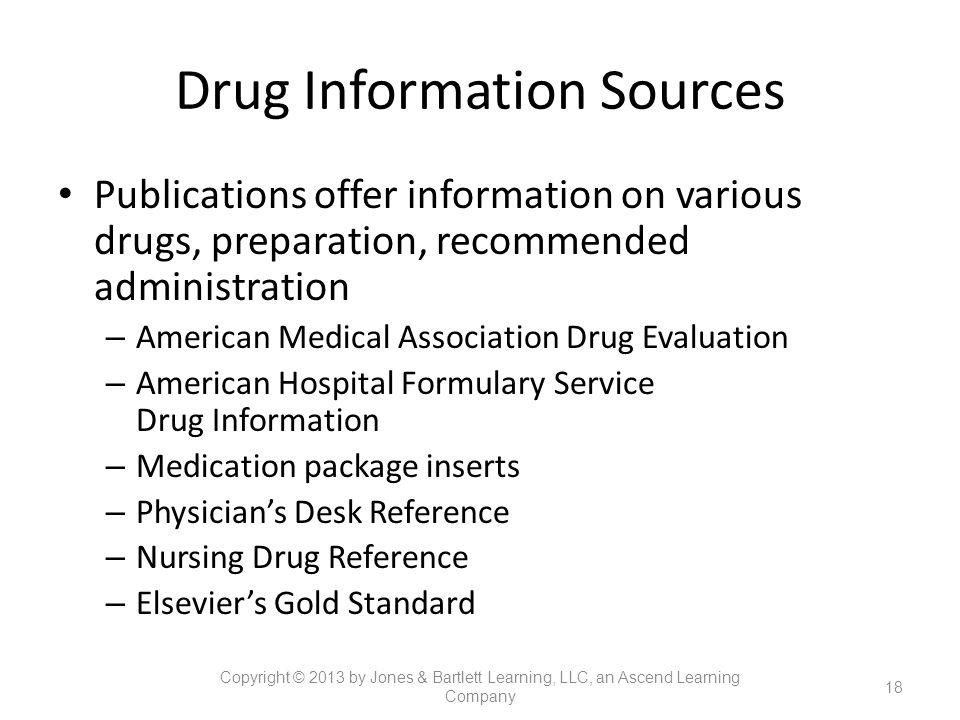 Drug Information Sources Publications offer information on various drugs, preparation, recommended administration – American Medical Association Drug
