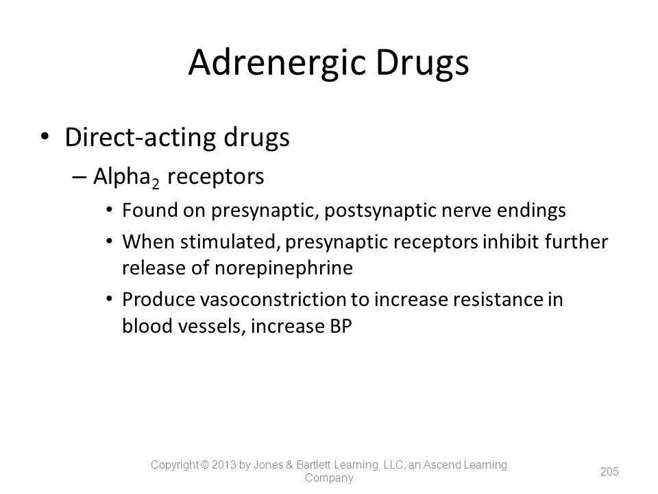 Adrenergic Drugs Direct-acting drugs – Alpha 2 receptors Found on presynaptic, postsynaptic nerve endings When stimulated, presynaptic receptors inhib