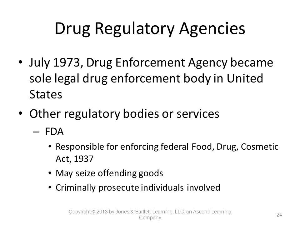 Drug Regulatory Agencies July 1973, Drug Enforcement Agency became sole legal drug enforcement body in United States Other regulatory bodies or servic